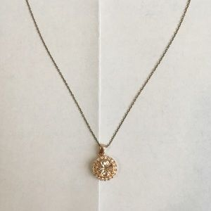 Rose Gold Crystal Pendant w/ White Crystal Accents